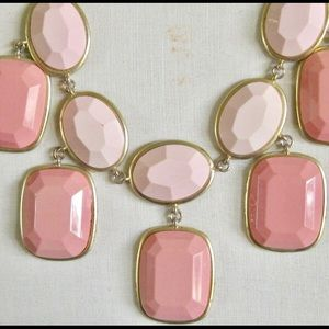 JCrew Pink Geo Gold tone Necklace!